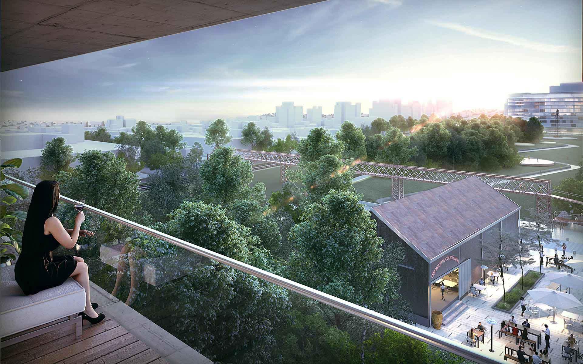 Arquitectura y Paisaje, vista del parque y los edificios patrimoniales recuperados para el masterplan para la playa ferroviaria colegiales. Proyecto premiado