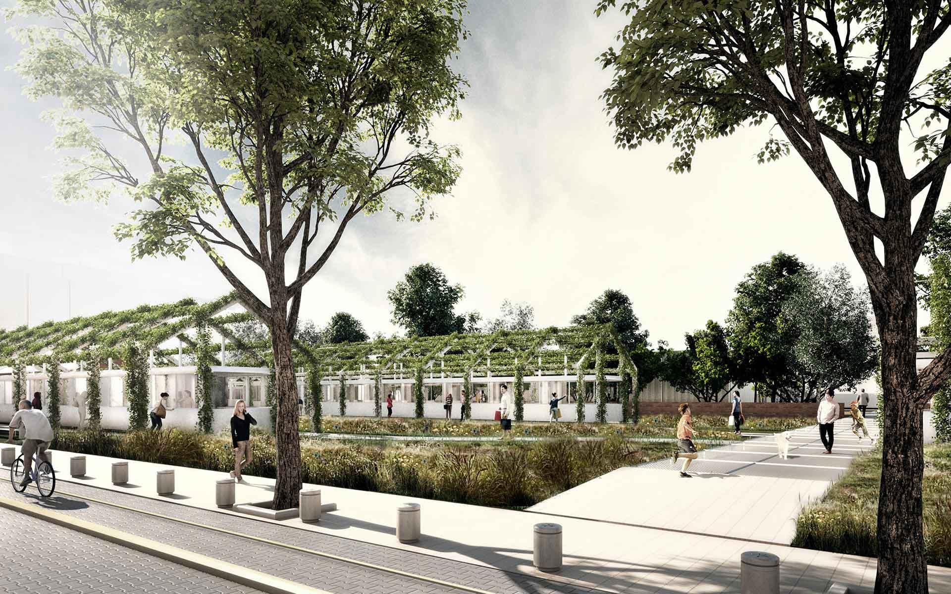 Arquitectura y Paisaje, area protección ambiental y mercado, pabellones con enredaderas planteado en el masterplan para la playa ferroviaria colegiales