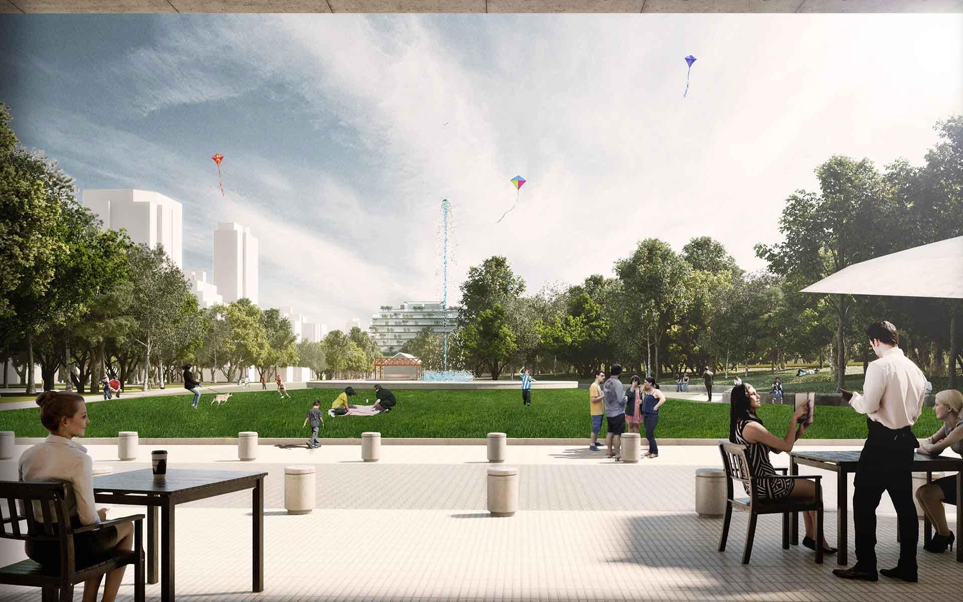 Arquitectura y Paisaje, vista del parque desde el sector comercial planteado en el masterplan para la playa ferroviaria colegiales