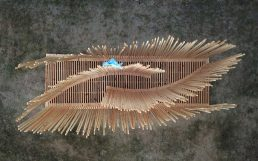 Architecture Design, Artistic Installation: Construction with Wood Aerial View from drone with hello wood flag