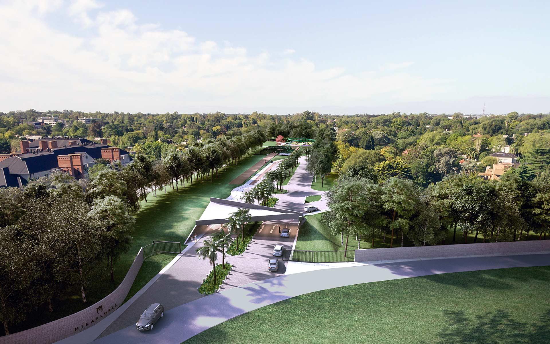 Arquitectura y Paisaje, Masterplan Miraflores vista aerea portico y boulevard de acceso