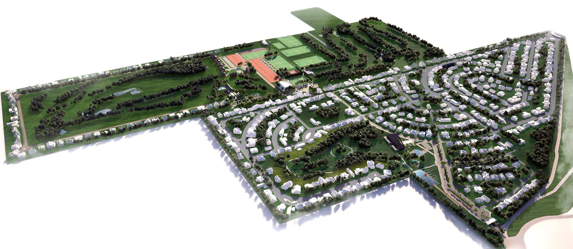 Arquitectura y Paisajismo Perspectiva Aerea General Masterplan Miraflores Country Club