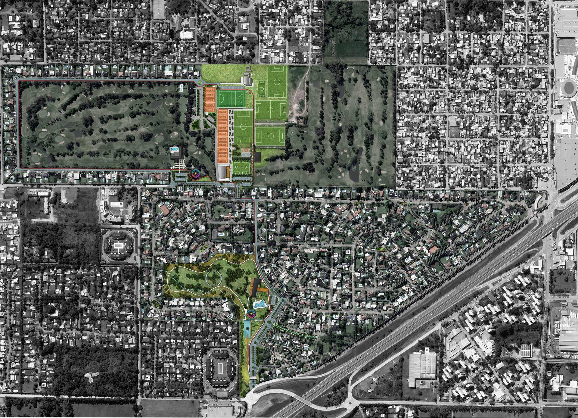 Arquitectura y paisajismo: Planta general de las intervenciones del Master plan para Miraflores Country Club
