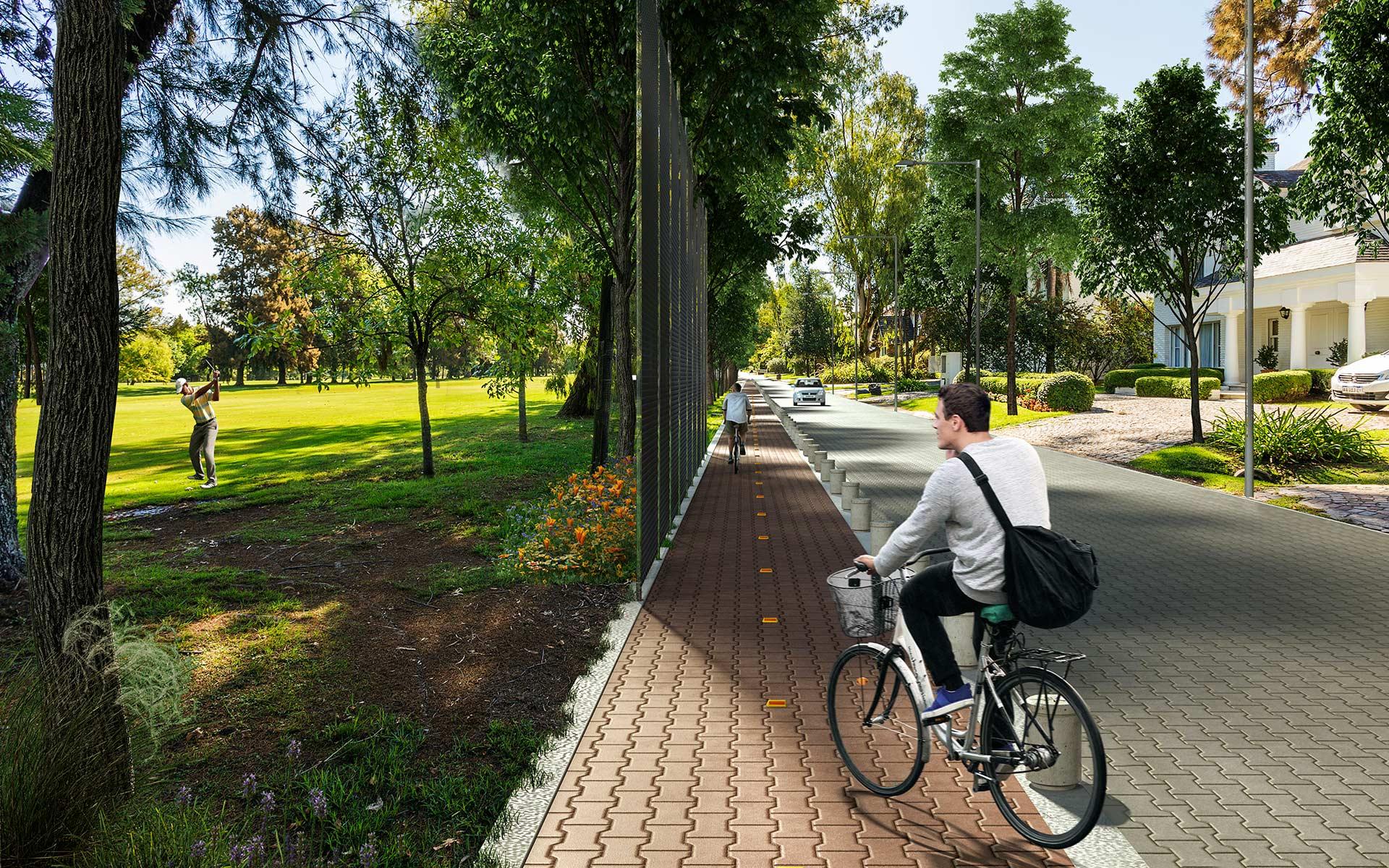 Paisaje, masterplan miraflores puesta en valor cancha de golf, nuevo sistema de ciclovías