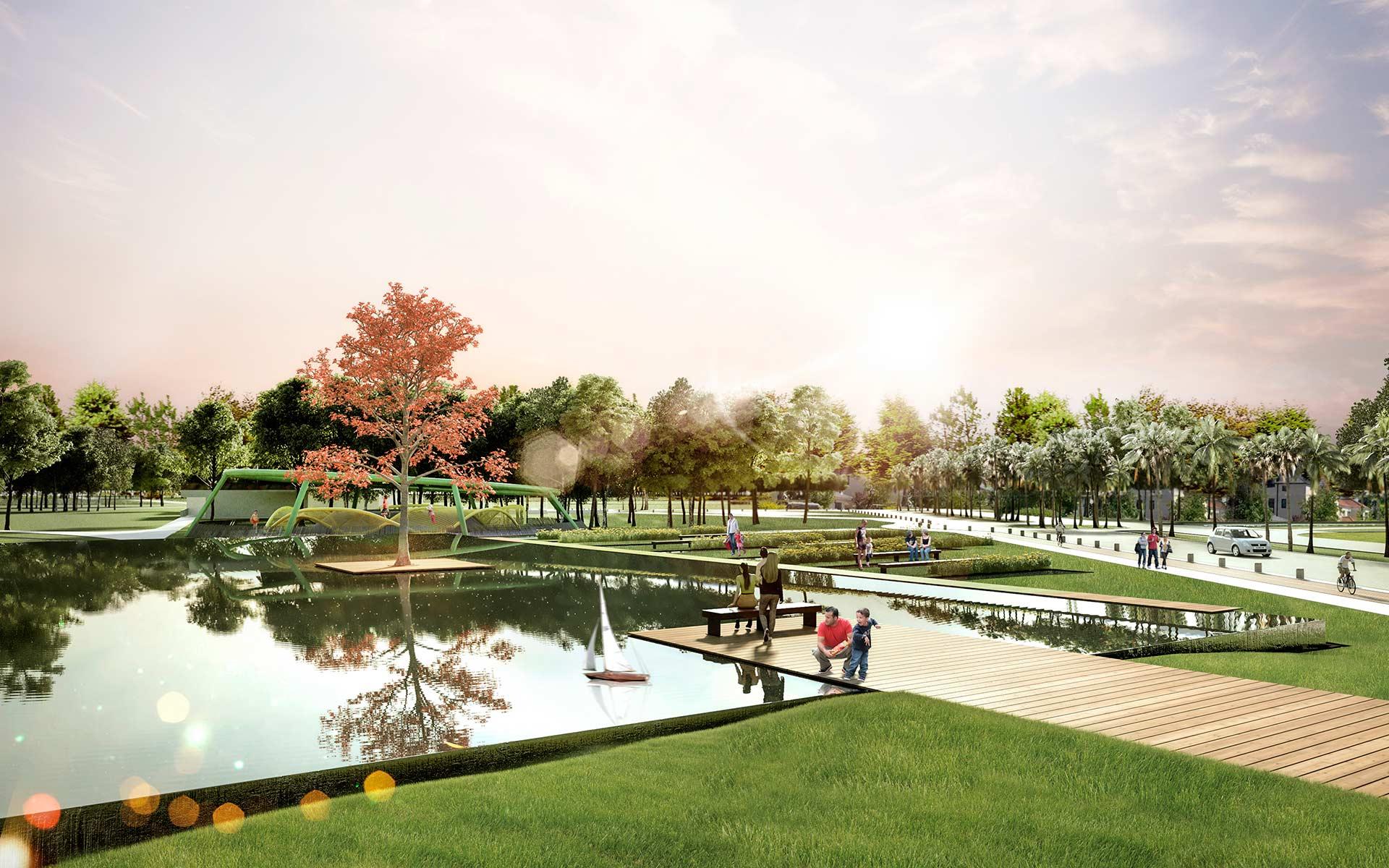 Paisaje Parque del Agua, y boulevard de acceso en Miraflores Country Club