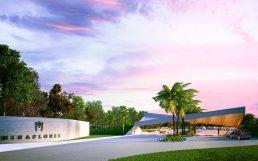 Arquitectura Portico nuevo Acceso Miraflores, paraboloide hiperbólico de hormigón y listones de madera