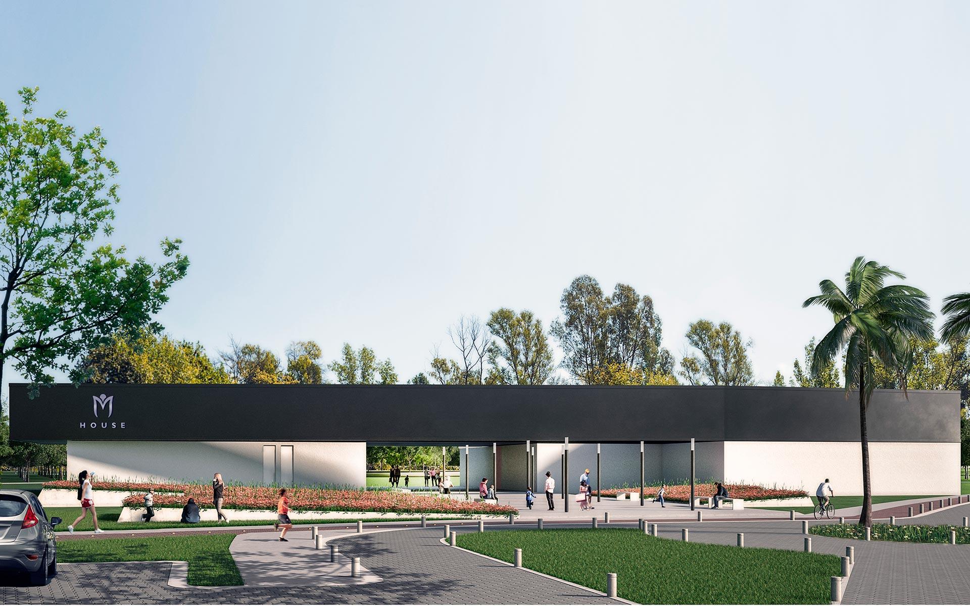 Arquitectura, propuesta de reforma para el Club House Miraflores, nuevo volumen negro sobre construcción existente en blanco