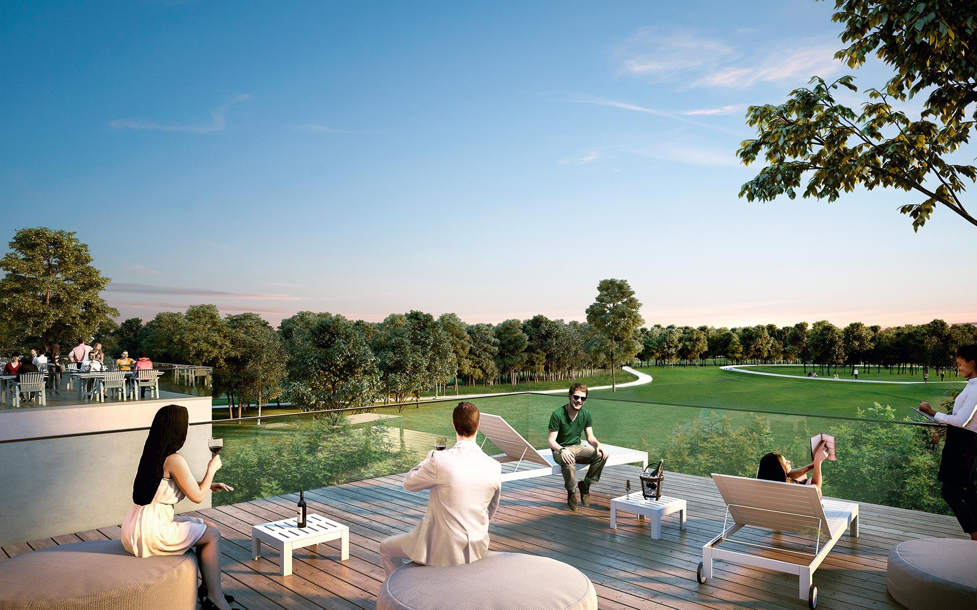 Paisaje, vista del Parque del Golf desde la terraza del house