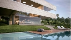 Architecture: Minimalist house, contemporary brutalism, pool and deck. Two exposed concrete beams and a single column