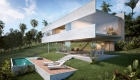 Architecture: View from the garden, pool and deck, modern house seems to float in the landscape, two exposed concrete beams and large windows