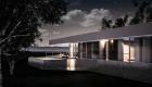 Arquitectura: Casa moderna en barrio cerrado, vista fachada N, caja de dormitorios abierta a la noche