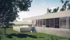 Arquitectura: Casa moderna en barrio cerrado, vista fachada N, caja de dormitorios abierta durante el día