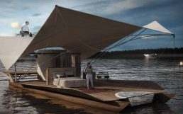 Architecture and design: Arrival to floating eco-lodge room port, glamping